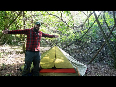 Bushcraft Wild Solo Camp- Tipi Tarp Shelter, Spoon Carving, Exploring New Forest